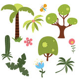 Set of vector African trees. Set of jungle trees and plants on white background Royalty Free Stock Photography
