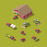 Set of vector agricultural machinery and workshop vector illustration Stock Photo