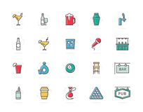 Set of vector alcohol and bar, night club colored line icons. Cocktail, wine, beer, cup, tequila, cognac, whiskey. Vector symbol or icon design element for Stock Photography