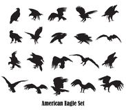 Set of vector american eagle silhouettes royalty free illustration