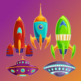 Set vector amusing spaceships and UFOs Royalty Free Stock Image