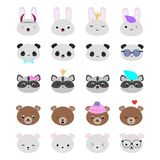 Set of 20 vector animal heads with funny kawaii faces, perfect f. Or scrapbooking, bullet journal, stickers, patches, etc Stock Photo