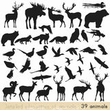 Set of vector animal silhouettes for design Royalty Free Stock Images