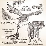 Set of vector animals for hunting design Royalty Free Stock Image