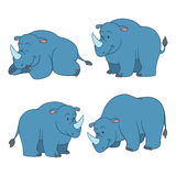 Set of vector animals (rhino) Royalty Free Stock Images