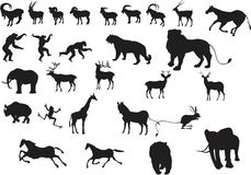 A set of vector animals silhouettes Stock Photos