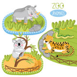 Set of vector animals. Vector zoo animals. Such as panda, tiger and other royalty free illustration