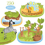 Set of vector animals. Vector zoo animals. Such as zebra, crocodile and other Stock Photography