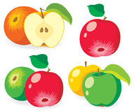 Set of vector apples Stock Photography