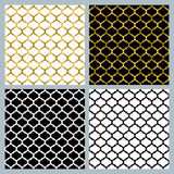 Set of vector arabic seamless patterns in black, white and golden colors. Stock Photos