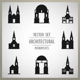 Set of vector architectural monuments old Europe Royalty Free Stock Photo