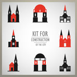 Set of vector architectural monuments old Europe Stock Photography