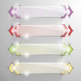 Set vector arrow banner with colorful line. Stock Images