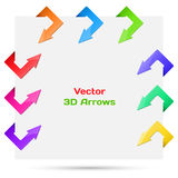 Set vector arrows in the form of paper stickers Stock Image
