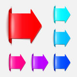 Set vector arrows in the form of paper stickers Royalty Free Stock Photography