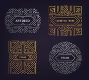 Set of vector Art deco golden borders, frames. Creative templates in style of 1920s. Trendy cover, graphic poster stock illustration