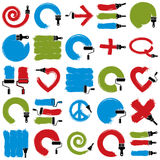 Set of vector art hand-painted signs created with smudge brushst. Rokes, symbols drawn with paintbrush. Colorful elements made on different social themes can be Stock Photo