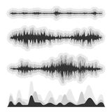 Set of vector audio scales. The equalizer, equalizer set,  icon set, vector set of waves, vector icons set waves, musical wave, sound waves, audio wave icon set Royalty Free Illustration