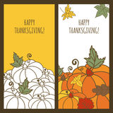 Set of vector autumn holiday banner backgrounds. Hand drawn doodle pumpkins and multicolor leaves. Design concept for Thanksgiving greeting card, flyer Stock Photos