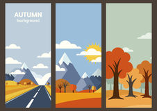 Set of vector autumn landscape banner with place for text. Flat. Illustration of road in golden wheat field, mountains, hills, yellow trees. Nature background royalty free illustration