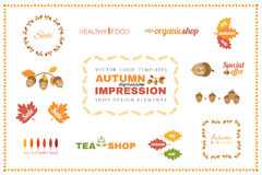 Set of vector autumn logo templates. Design elements. Stock Photography