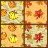 Set of vector autumn seamless pattern Royalty Free Stock Photos