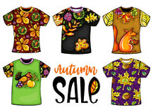 Set of vector Autumn templates t-shirts. Set of vector colorful templates t-shirts for men and woman with autumn design. Fall leaves, maple and chestnut, birds Stock Image