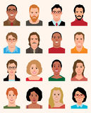 Set of vector avatars icons men and women of different Stock Images