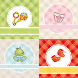 Set of vector baby cards. Abstract set of cute vector baby cards royalty free illustration
