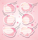 Set vector baby girl blank tags Stock Photo