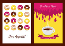 Set of vector background with donuts. Abstract concept for cafe Royalty Free Stock Photo