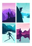 Set vector background with polygonal landscape illustration with royalty free illustration