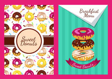 Set of vector background and seamless pattern with donuts.  Royalty Free Stock Image