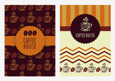 Set of vector background template. Seamless pattern with coffee Royalty Free Stock Photo