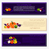 Set of vector backgrounds, banners about healthy eating. Vector vegetables elements for infographics.  vegetables. Royalty Free Stock Photo
