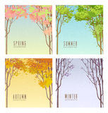 Set of vector backgrounds illustrating the 4 seasons stock illustration