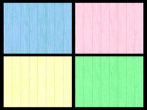 Set of vector backgrounds. Wooden wall blue, pink, yellow, green Royalty Free Stock Photo
