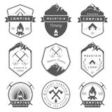 Set of Vector Badges Camping and Hiking Royalty Free Stock Images