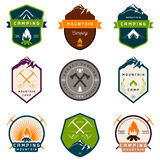 Set of Vector Badges Camping and Hiking Royalty Free Stock Photos