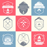 Set of Vector Badges Camping and Hiking Royalty Free Stock Photography