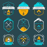 Set of Vector Badges Camping and Hiking Royalty Free Stock Photo