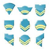 Set of vector badges with gold ribbons. Vector illustration stock illustration