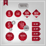 Set of vector badges and labels. Red labels stock illustration