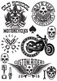 Set of vector badges, logos, design elements on theme motorcycles with skulls Stock Photography