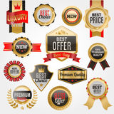 Set of vector badges shop product sale best price stickers and buy commerce advertising tag symbol discount promotion. Vector illustration. Paper store hot Royalty Free Stock Image