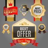 Set of vector badges shop product sale best price stickers and buy commerce advertising tag symbol discount promotion. Vector illustration. Paper store hot Royalty Free Stock Images