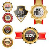 Set of vector badges shop product sale best price stickers. Set of vector badges shop product sale best price stickers and buy commerce advertising tag symbol Royalty Free Stock Images