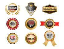 Set of vector badges shop product sale best price stickers. Set of vector badges shop product sale best price stickers and buy commerce advertising tag symbol Royalty Free Stock Photo