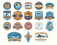 Set of vector badges, stickers on catching fish. Big set of vector color badges, stickers on catching fish. Emblems for fishing club, tournaments Stock Image
