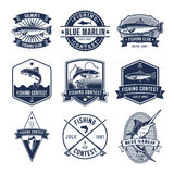 Set of vector badges, stickers on catching fish. Stock Images